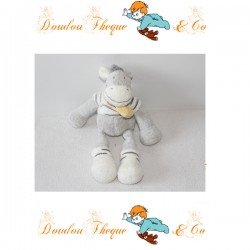 Doudou zèbre NICOTOY gris blanc foulard jaune 24 cm