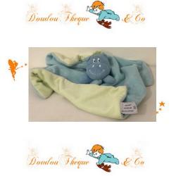 Doudou plat hippopotame P'TIT DODO bleu et vert 32 x 32 cm