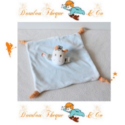 Doudou plat zèbre CREATIVTOYS bleu oiseau orange noeuds orange 20 cm