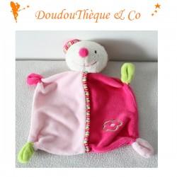Doudou plat ours BABY CLUB rose vert fleur C&A 23 cm