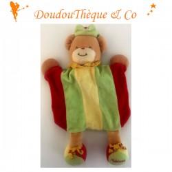 Doudou marionnette ours TAKINOU collerette à pois 31 cm