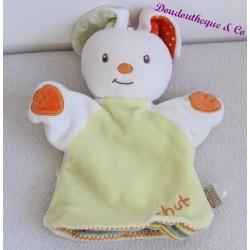 Doudou puppet rabbit baby 9 hush green orange 23 cm bebe9