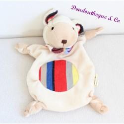 Doudou plat agneau LES TOILES DU SOLEIL bandana rayé Raynaud 23 cm