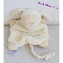 Doudou mouton BABY CLUB blanc cassé soleil attache tétine C&A 32 cm