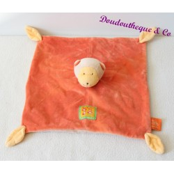 Doudou plat singe MOULIN ROTY Les Loustics orange feuille jaune 25 cm