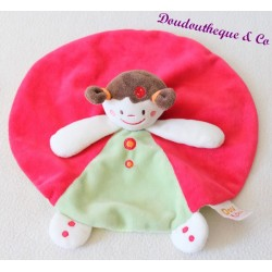 Doudou plat fille DOUKIDOU rond rouge vert poupée marionnette 25 cm