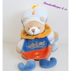 Doudou plat ours DOUDOU ET COMPAGNIE collection Indidou orange et bleu