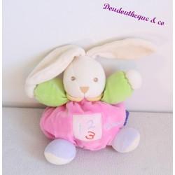 Doudou lapin KALOO 123 rose bras vert lapin boule 18 cm