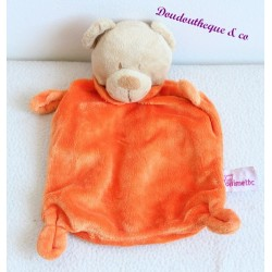 Doudou plat Ours POMMETTE orange noeuds