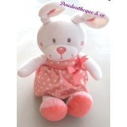 Doudou lapin TEX robe rose motif étoile 30 cm
