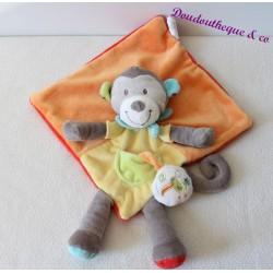Doudou singe plat orange et jaune NICOTOY