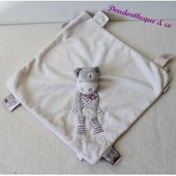 Doudou plat Lolita vache NOUKIE'S blanc gris marionnette 26 cm