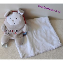 Doudou mouchoir lapin SUCRE D'ORGE Cajou gris rouge blanc 16 cm