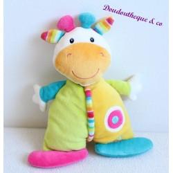 Doudou cow BABYSUN striped green pink yellow blue semi flat 23 cm