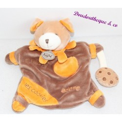 Doudou puppet dog BABY NAT' Charly love brown orange cookies