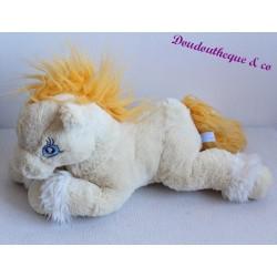 Peluche Cheval GIPSY beige créme jaune yeux bleu 39 cm