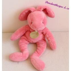 Doudou lapin pantin BABY NAT rose medaillon au cou 25 cm