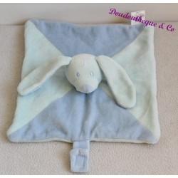 Doudou plat lapin, chien BABOU bleu attache tétine 24 cm