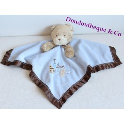 Doudou flat bear CARTER's blue and Brown satin Bell I love hugs 37 cm
