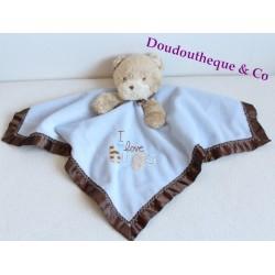 Doudou plat Ours CARTER'S bleu et marron satin grelot I love hugs 37 cm