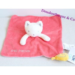 Doudou plat chat OBAIBI rose blanc oiseau jaune first friends 25 cm