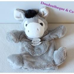 Doudou marionnette âne HISTOIRE D'OURS gris poche 25 cm
