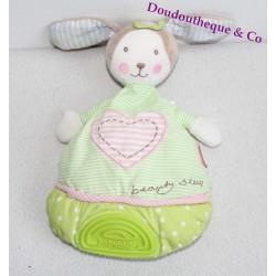 Doudou semi plat lapin BABYSUN vert et rose Beauty Sleep 28 cm