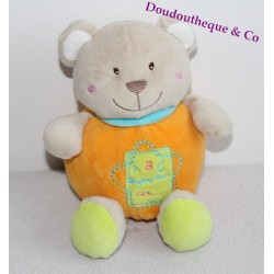 Doudou boule ours GIFI orange ABC happy lear 123 18 cm