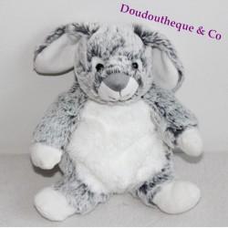 Doudou lapin CASINO BEBE REVE gris et blanc 21 cm