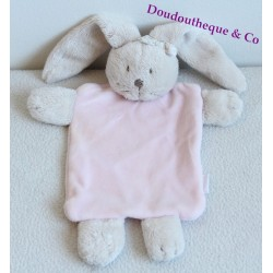 Doudou plat Lapin JACADI rectangle rose noeud  24 cm