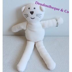 Doudou chat BOUT'CHOU / BOUTCHOU / BOUT CHOU velours blanc et gris