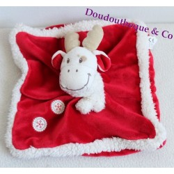 Doudou lapin rose cocard NICOTOY orange ventre rond vert foulard rouge