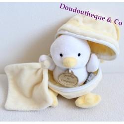 Poussin DOUDOU ET COMPAGNIE mouchoir coquille jaune 17 cm