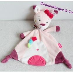 Doudou DOE BABYSUN dentition Les Coquettes handkerchief pink 30 cm