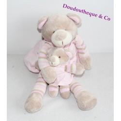 Peluche musicale ours LA GALLERIA oursonne et son bébé robe rose 34 cm