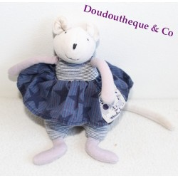 Doudou hochet Souris MOULIN ROTY Aimé et Celeste bleu  17 cm