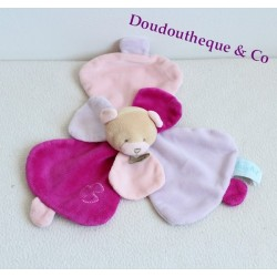 Doudou flat bear BABY NAT' gentle Pink Purple Flower