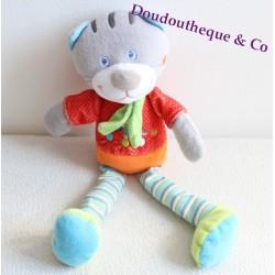 Doudou Chat MOTS D'ENFANTS LECLERC écharpe verte jambes rayées 32 cm