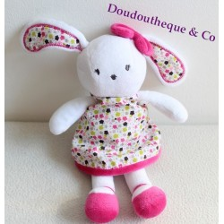 Peluche Lapin ORCHESTRA / PREMAMAN rose blanc robe fleurit etoile noeud