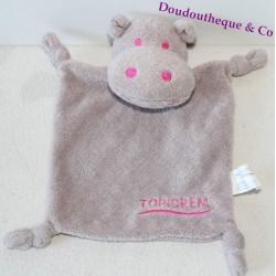 Doudou plat hippopotame TOPICREM marron et rose 17 cm
