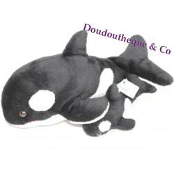 Peluche orque et son bébé MARINELAND poils courts noir et blanc 30 cm