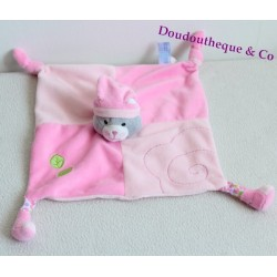 Doudou plat chat GIPSY rose marionnette 2 noeuds feuilles verte