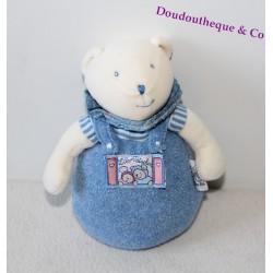 Doudou hochet ours MOULIN ROTY Lila et Patachon bleu 17 cm