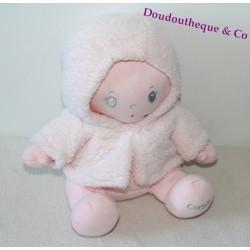 Poupée tissu COROLLE rose manteau blanc rosé 25 cm