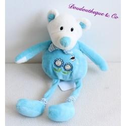 Doudou ours, souris CP INTERNATIONAL bleu motifs fleurs et abeilles 32 cm