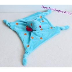 Doudou plat oiseau CarréBlanc bleu pois orange 4 noeuds 28 cm