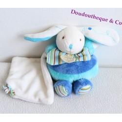 Mini Lapin DOUDOU ET COMPAGNIE Les zamigolo bleu mouchoir blanc 16 cm