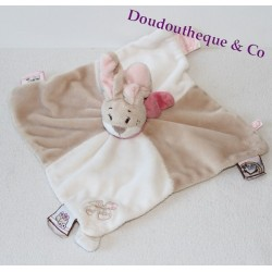 Flat blankie Oscarine rabbit NOUKIE's Oscarine and Léontine Brown pink puppet