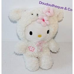 Peluche chat Hello Kitty SANRIO déguisé en mouton fleur rose sur la tête 22 cm