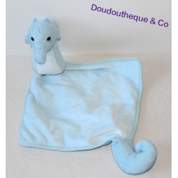 Doudou plat hippocampe cheval de mer bleu 47 cm